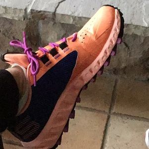 Women's Adidas sneakers orange black and purple